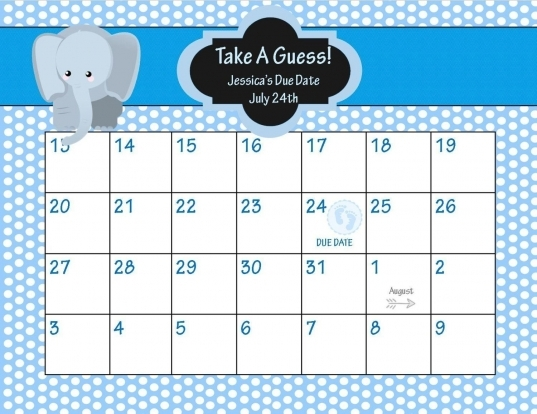 The Guess The Due Date Calendar Template Free In 2020 | Ba