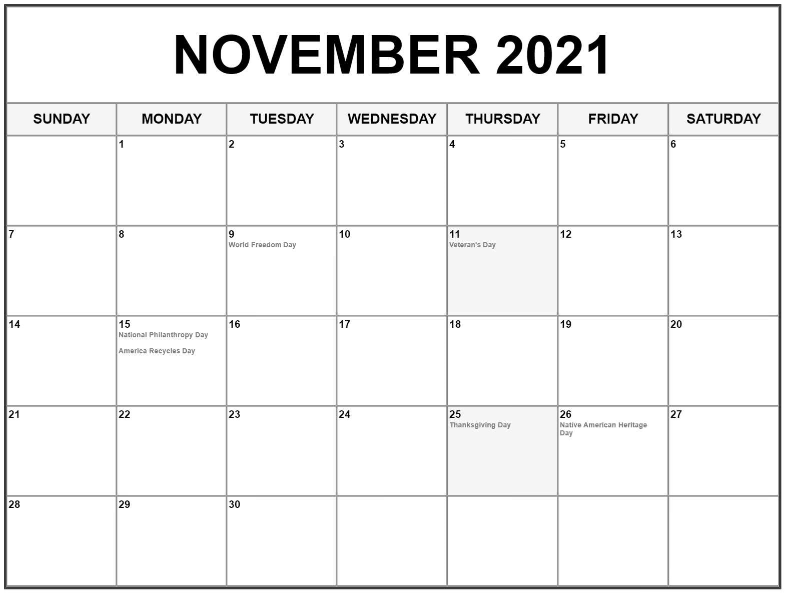 The Month Of November 2021 – Holidays & Interesting Fact