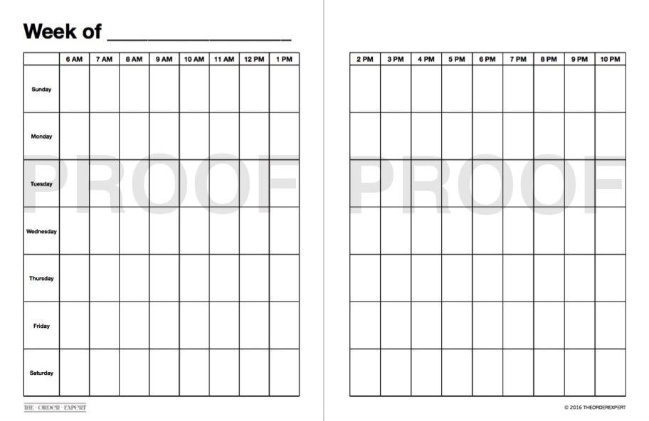 The Order Expert | Weekly Grid Blank Calendar – The Order