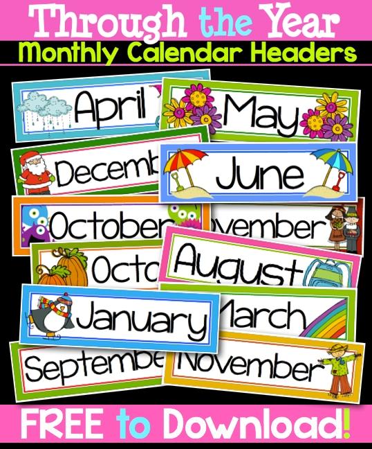 Through The Year Calendar Headers | Classroom Calendar