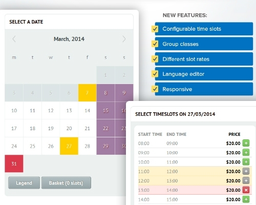 Time Slots Booking Calendar - Free Download And Software