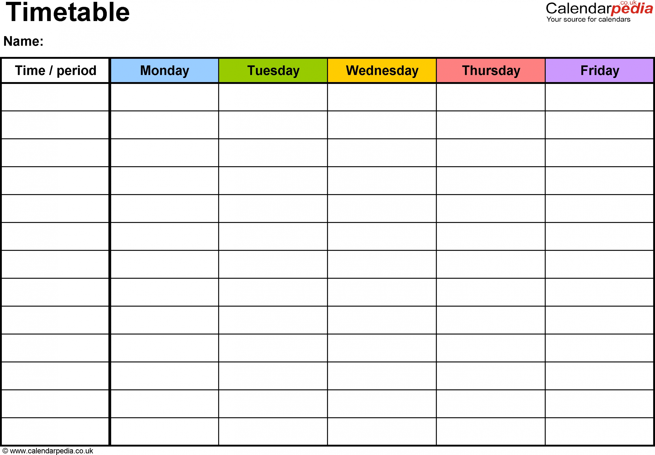 Timetables As Free Printable Templates For Pdf | Daily