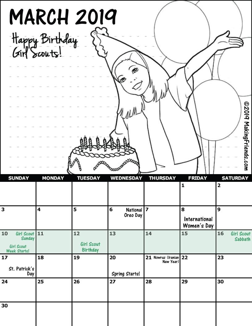 Troop March Calendar - Makingfriends