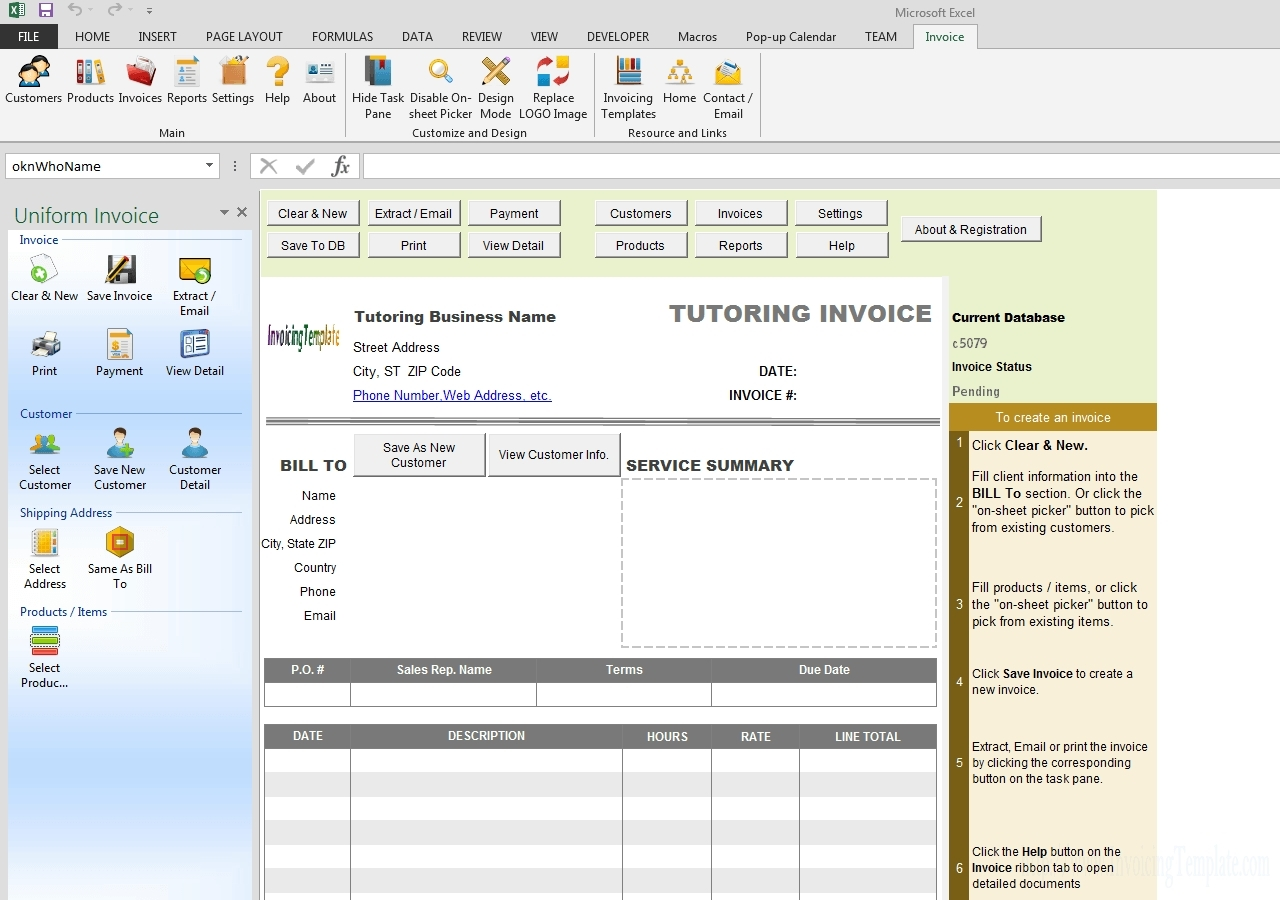Tutoring Template To Fill Out Weekly - Calendar