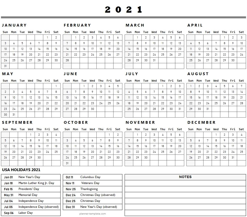 Us Federal Holidays 2021 List Template | Holidays Calendar
