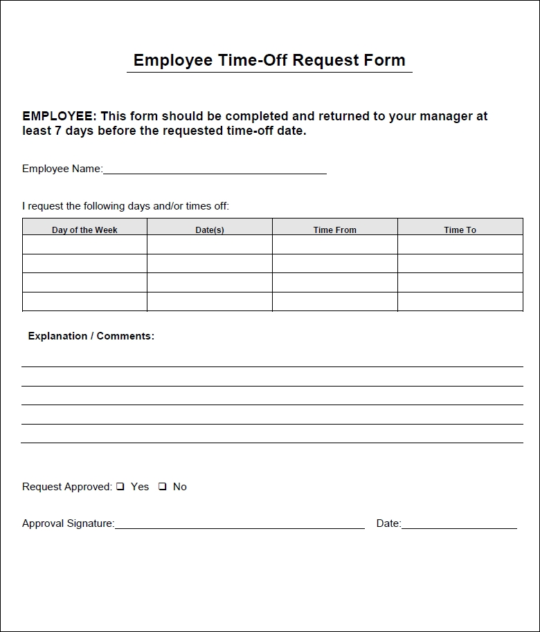Vacation Time Off Request Template | Time Off Request Form