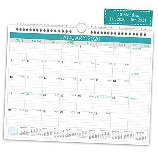 Wall Calendar Jan 2020- June 2021 Monthly Overview With