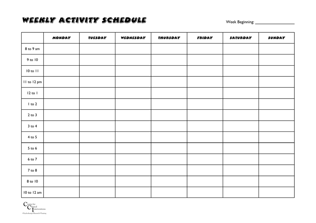 Weekly Activity Schedule - Centre For Clinical Interventions