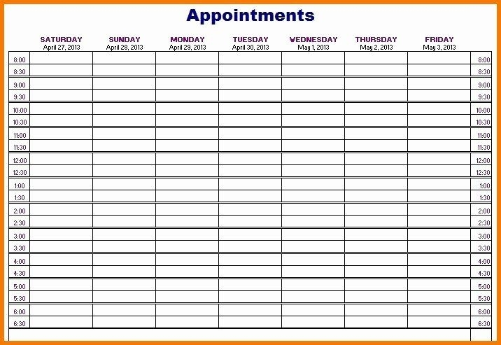 Weekly Appointment Calendar Template Fresh 50 Weekly