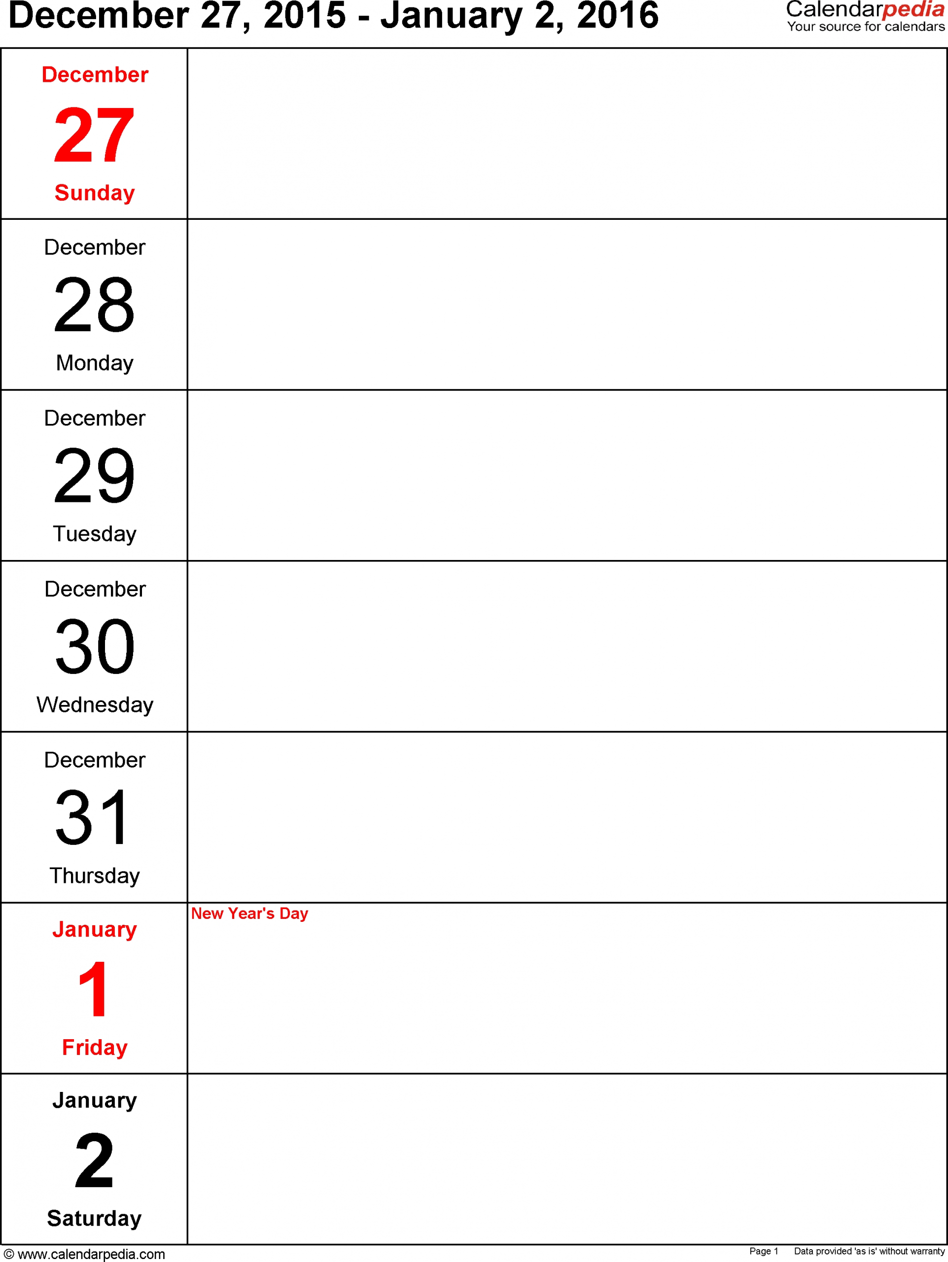 Weekly Calendar 2016: Template For Word Version 10