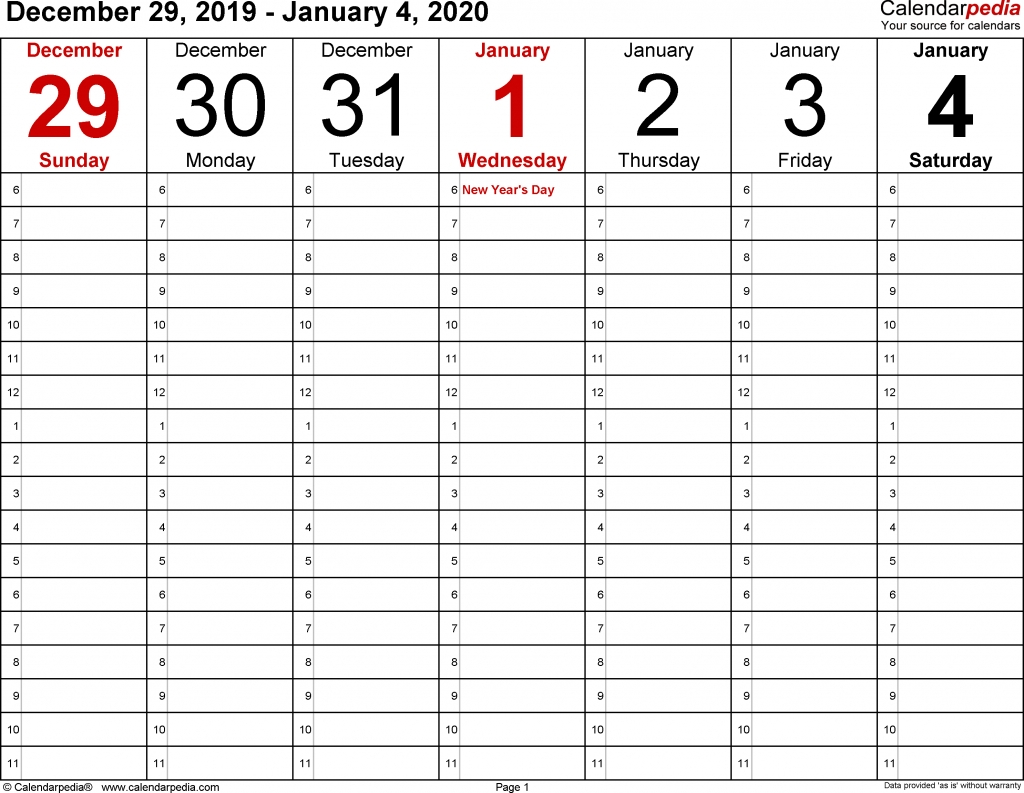 Weekly Calendar 2020 With Time Slots – Calendar Template 2020