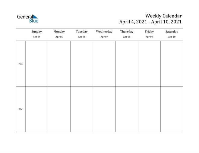 Weekly Calendar - April 4, 2021 To April 10, 2021 - (Pdf