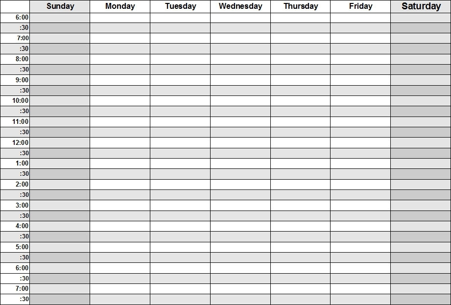 Weekly Calendar By Hour – Printable Week Calendar