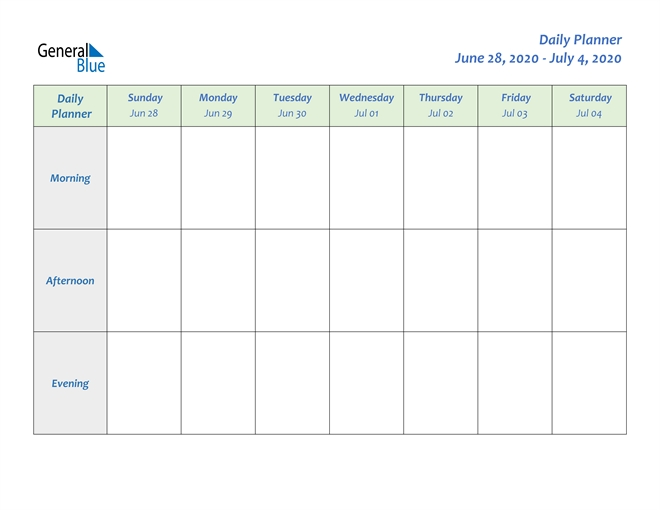 Weekly Calendar - June 28, 2020 To July 4, 2020 - (Pdf