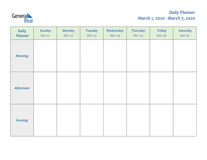 Weekly Calendar - March 1, 2020 To March 7, 2020 - (Pdf