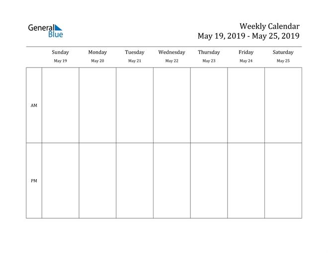 Weekly Calendar - May 19, 2019 To May 25, 2019 - (Pdf