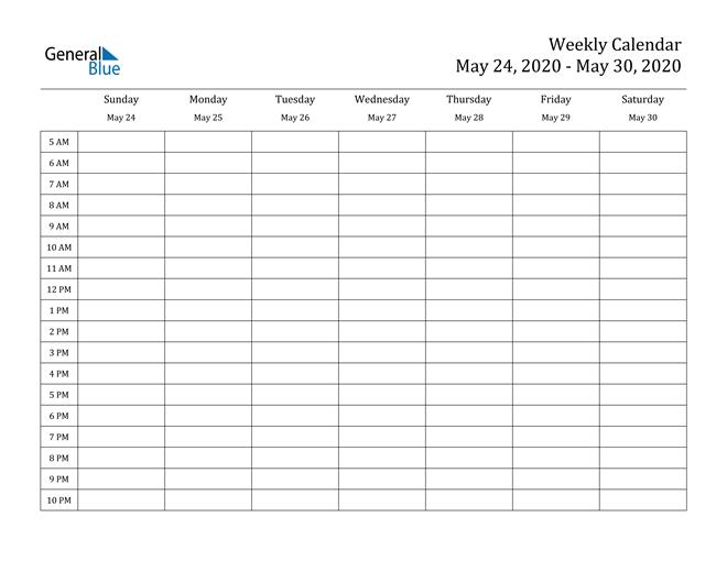 Weekly Calendar - May 24, 2020 To May 30, 2020 - (Pdf