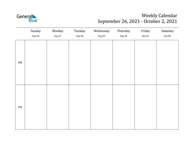 Weekly Calendar - September 26, 2021 To October 2, 2021