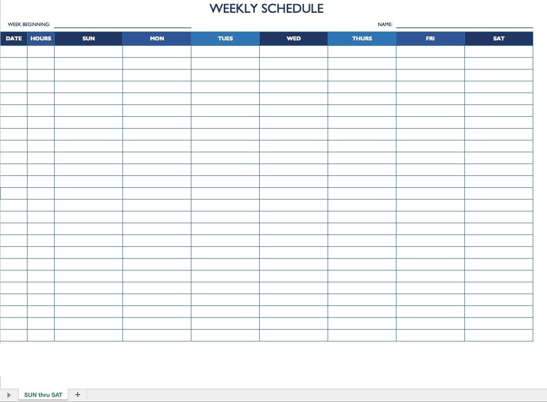 Weekly Employee Schedule Template – Task List Templates