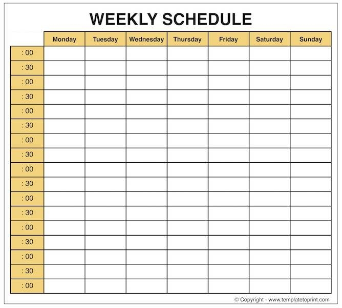 Weekly Planner - Blank Weekly Calendar Template With Time