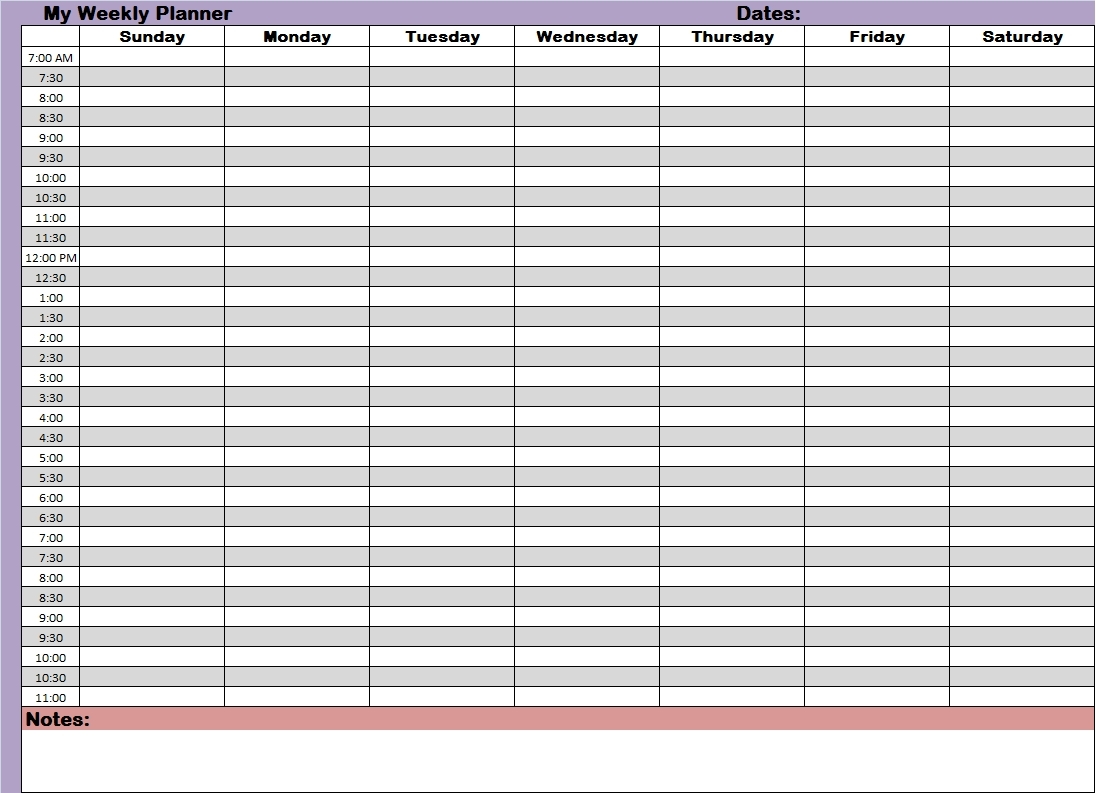 Weekly Planner With Time Slots Printable :-Free Calendar