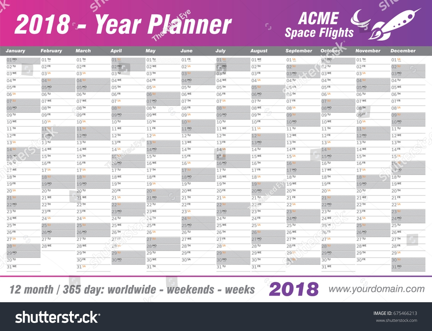 Year Planner Calendar 2018 Vector Annual Stock Vector