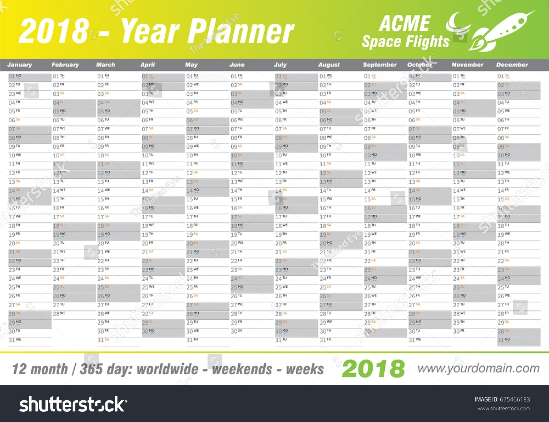 Year Planner Calendar 2018 Vector Annual Stock Vector