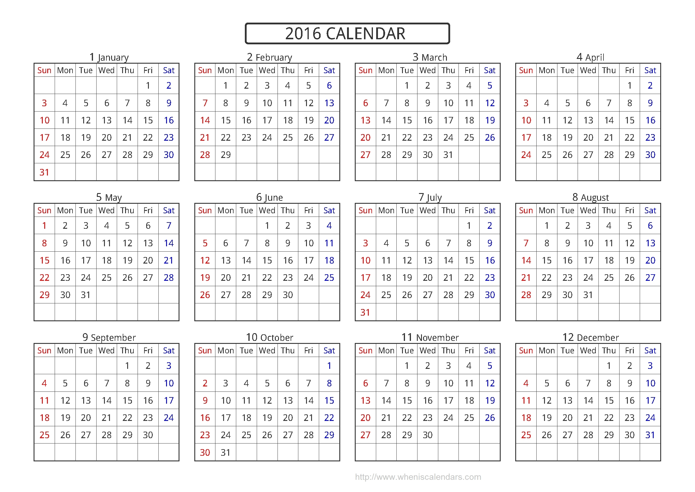 Yearly Calendar A4 | Templates Free Printable