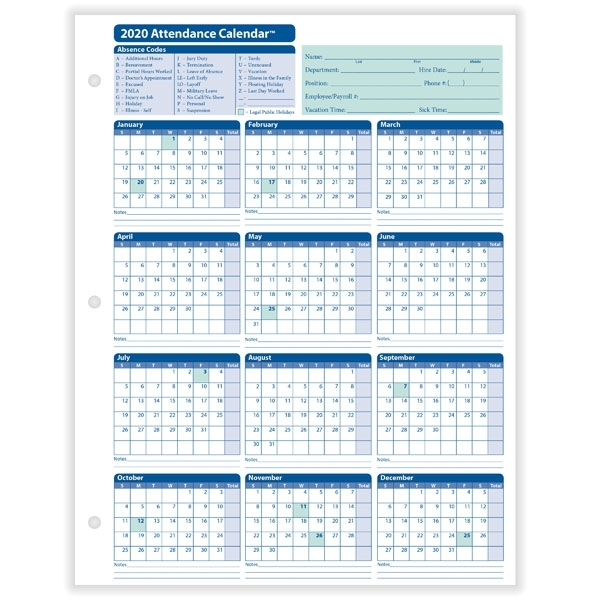 Yearly Employee Attendance Calendar | Yearly Calendar