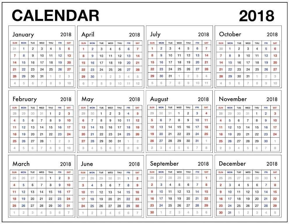 12 Month Calendar 2018 Pdf | Blank Calendar Template, Printable Blank Calendar, Blank Calendar