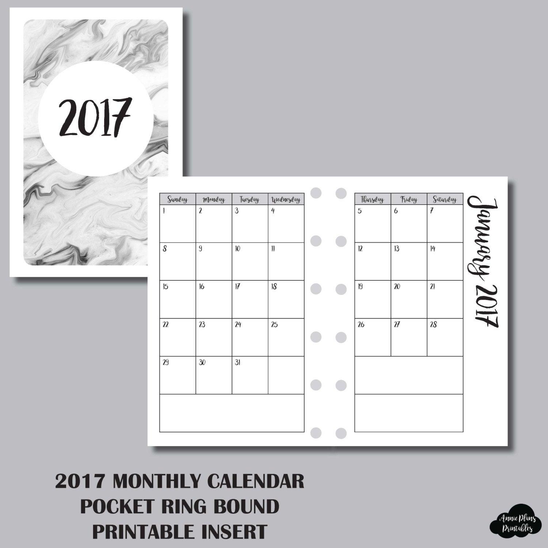 12 Month Calendar Pocket Ring Sized Printable Insert