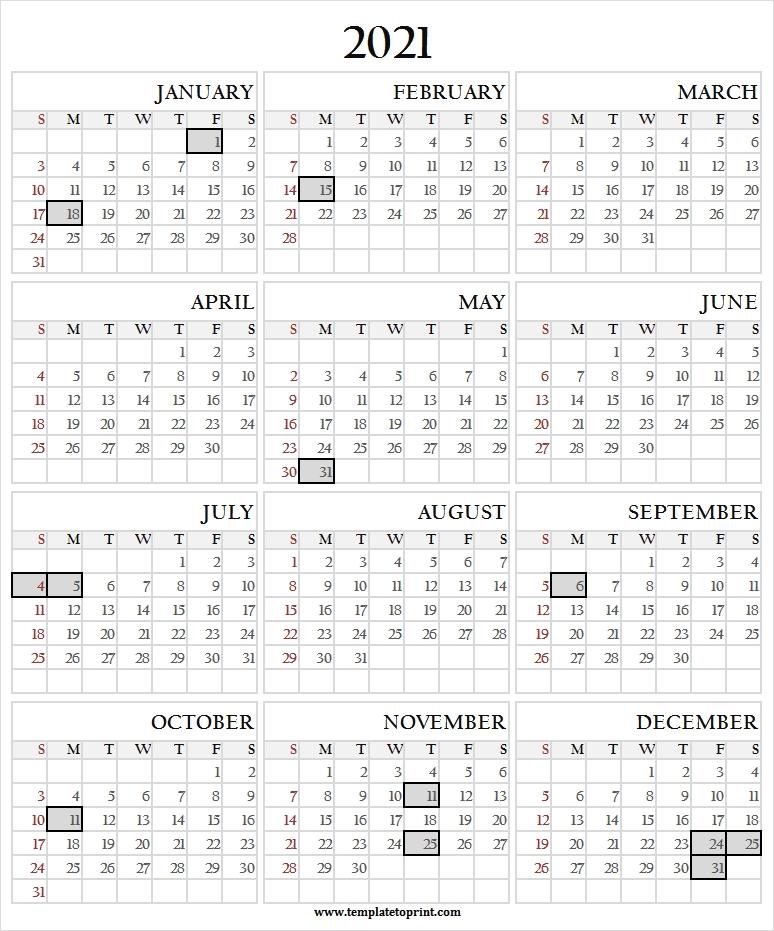 12 Month Printable Calendar 2021 With Holidays - 2021 Calendar Festival