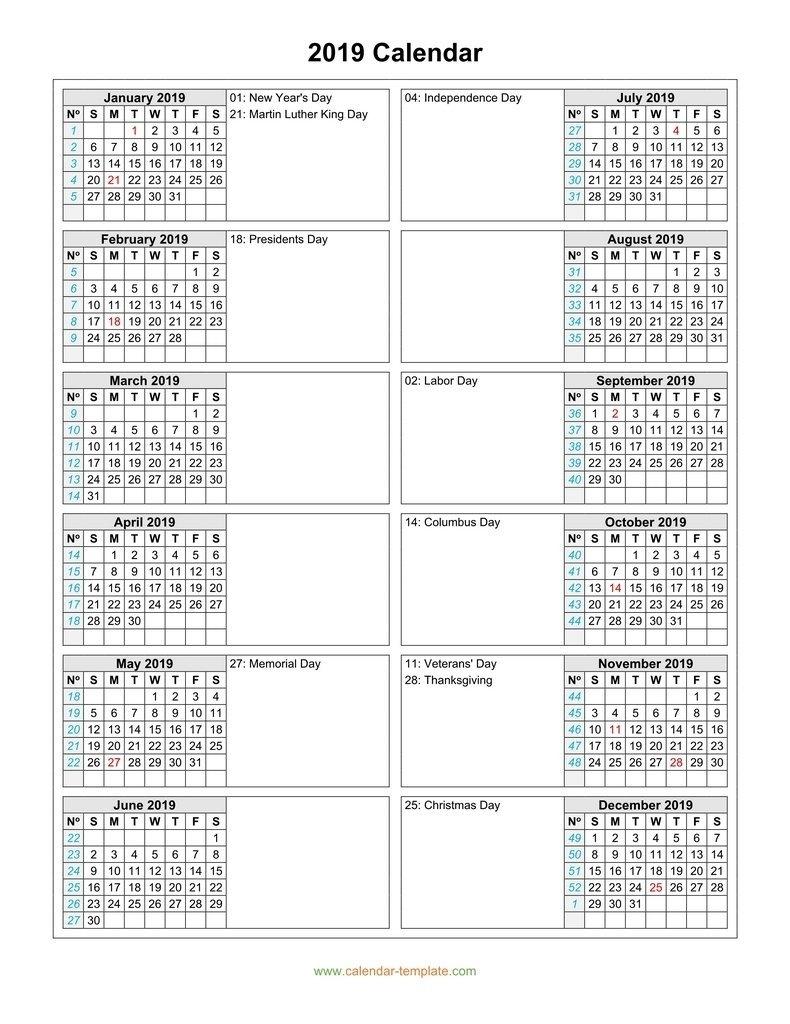 2 Column Calendar 2019 :-Free Calendar Template