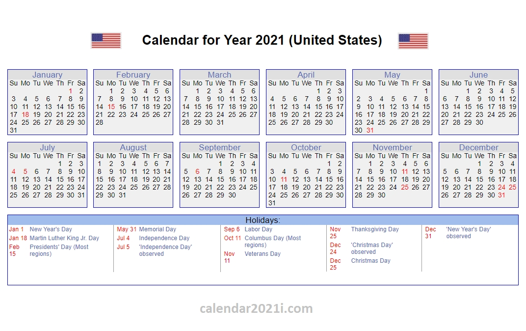 20+ Federal Holidays 2021 - Free Download Printable Calendar Templates ️