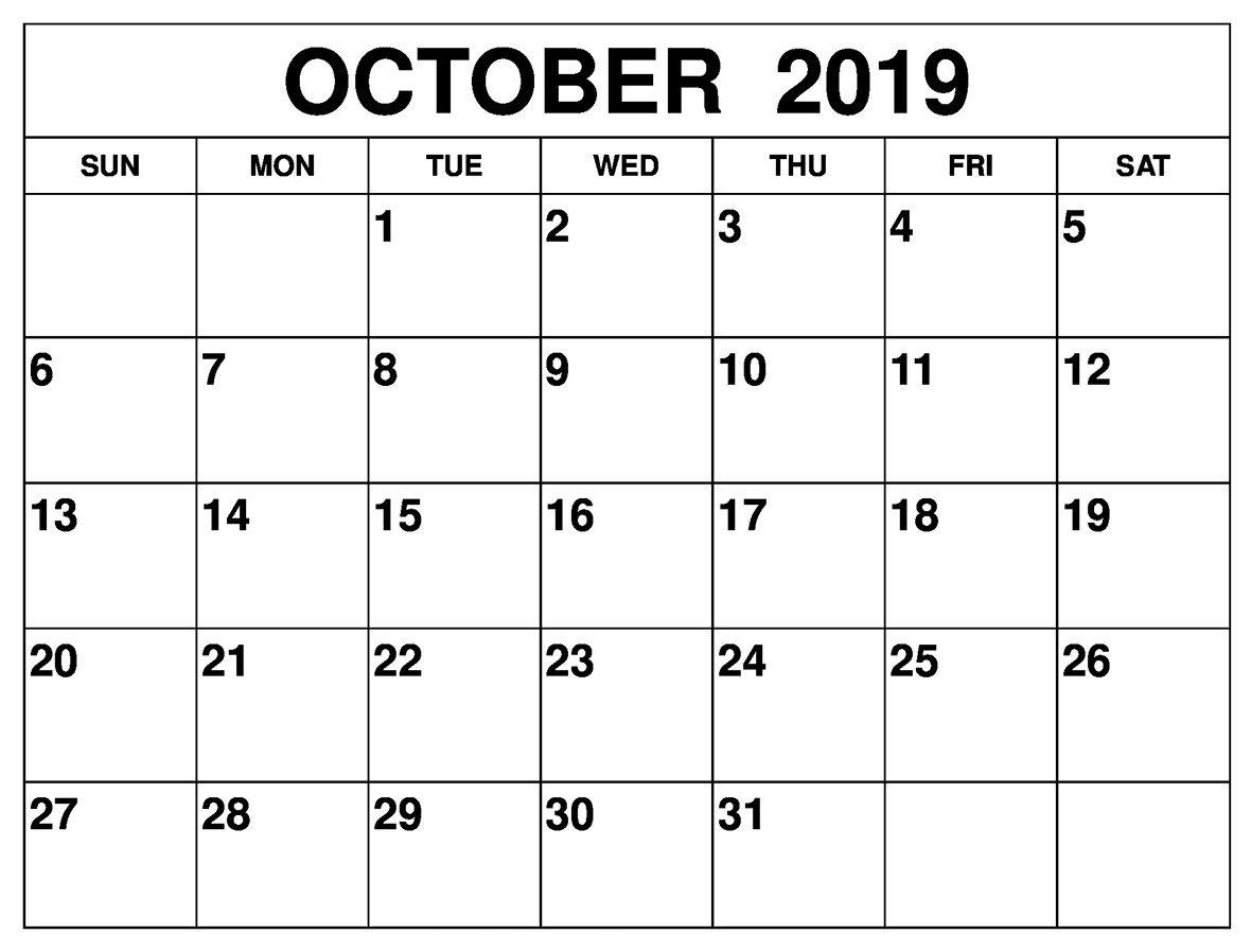 20+ Printable October 2019 Calendar - Free Download Printable Calendar Templates ️