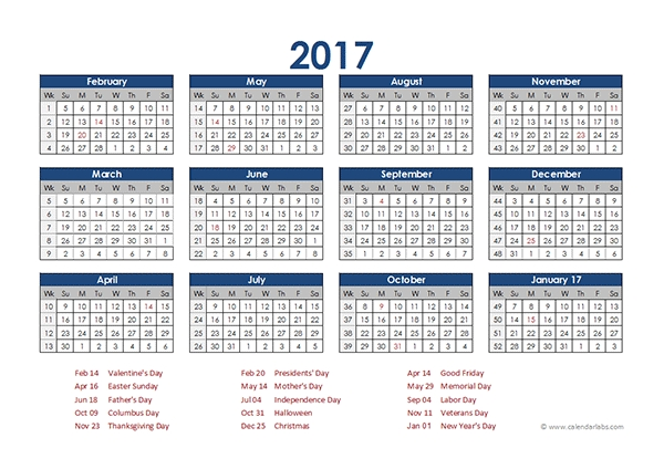 2017 Accounting Calendar 4-5-4 - Free Printable Templates