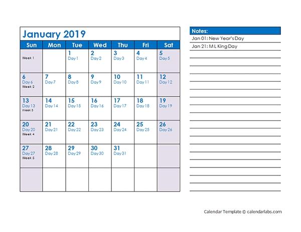 2019 Julian Date Calendar - Free Printable Templates