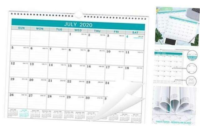 2020-2021 Calendar - 18 Months Wall Calendar With Julian Date, Thick Paper Perfe | Ebay