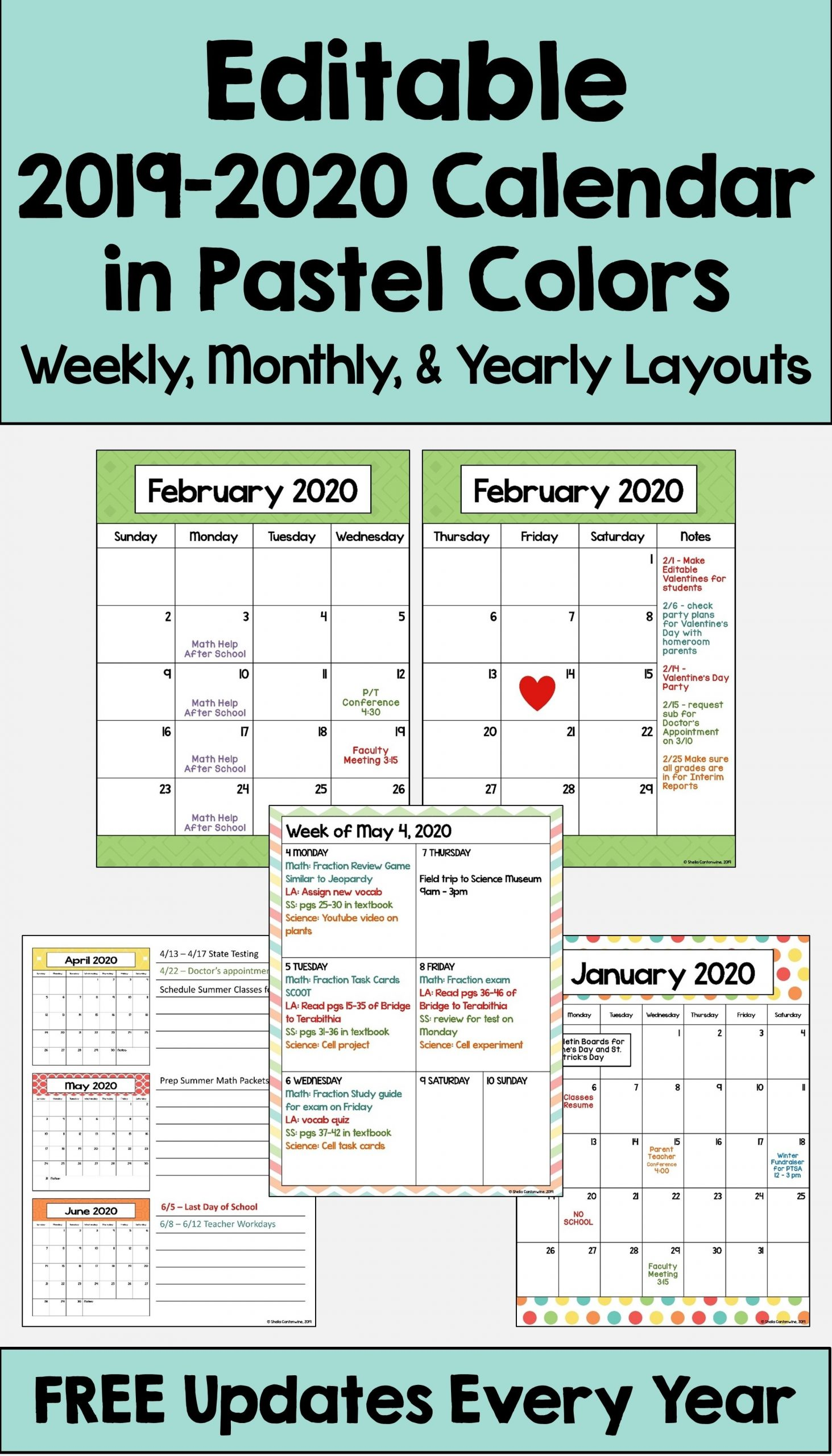 2020-2021 Calendar Printable And Editable With Free Updates In Pastel Colors | Editable Calendar
