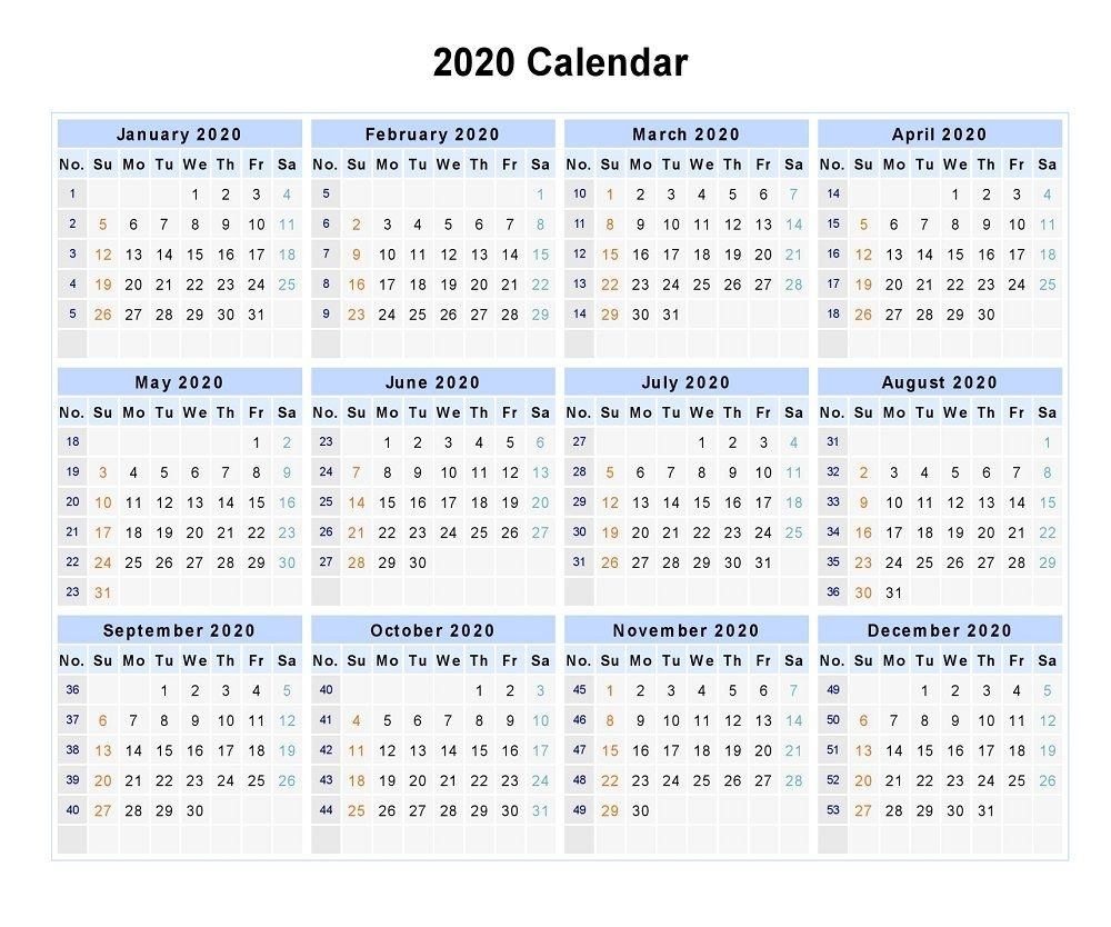 2020 Calendar With Week Numbers And Holidays | Free Printable Calendar