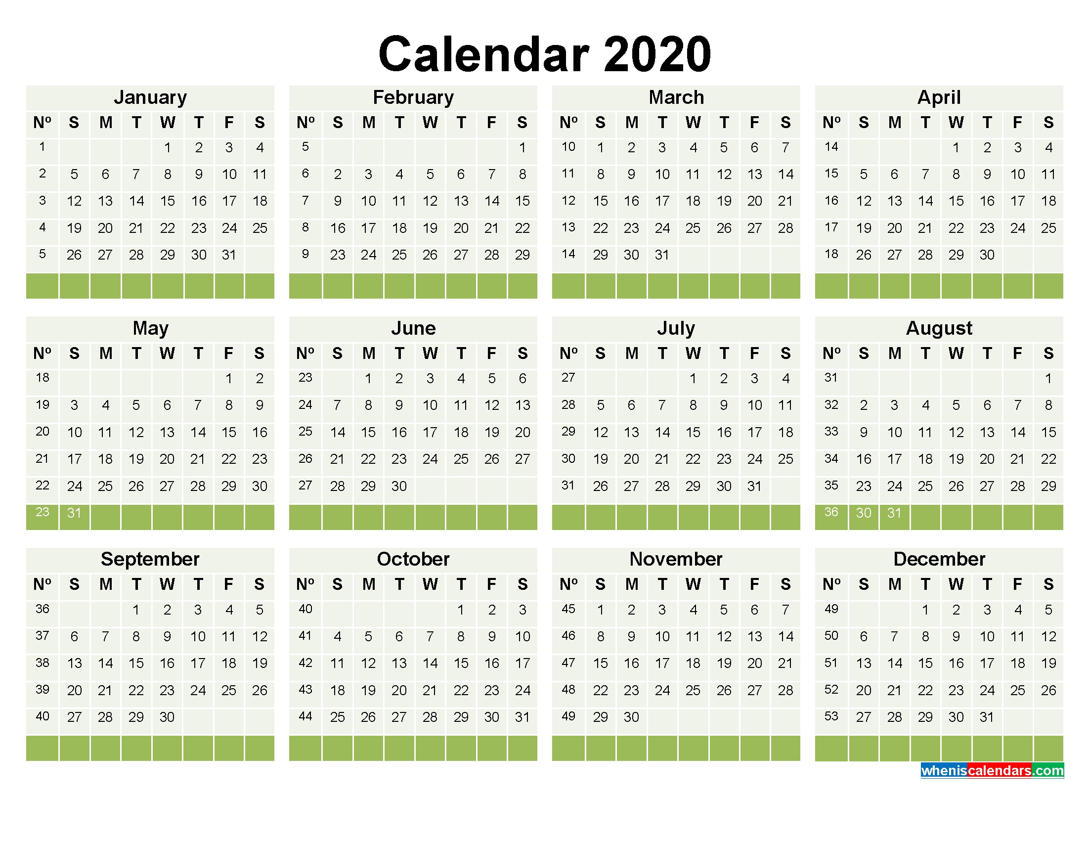 2020 Calendar With Week Numbers Printable Word, Pdf | Free Printable 2020 Monthly Calendar With