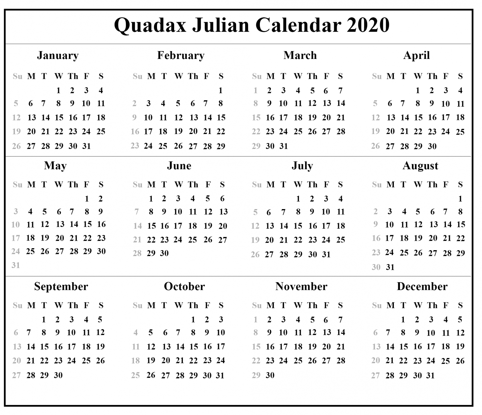 2020 Julian Calendar Printable | Free Resume Templates