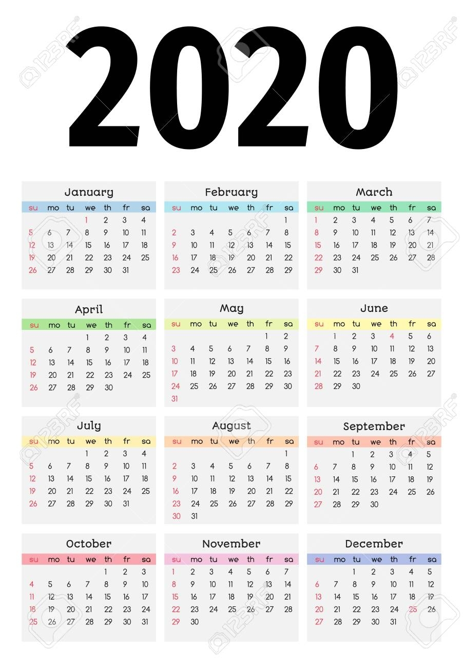 2020 Monday Through Sunday Calendar Template | Calendar Template Printable Monthly Yearly