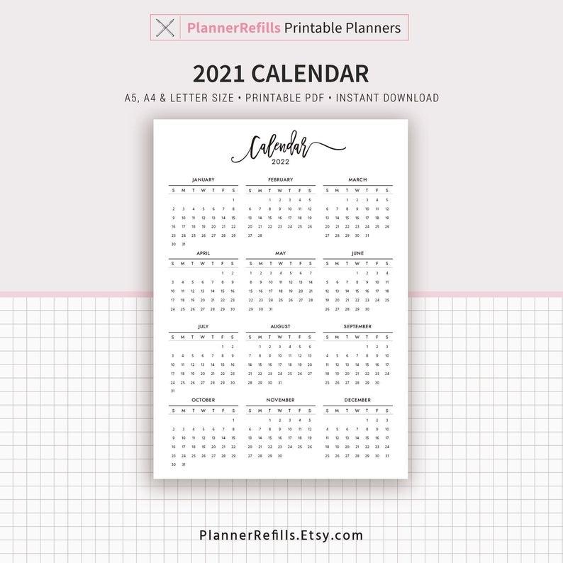 2021-2022 Calendar Printable Year At A Glance Planner | Etsy