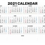 2021 Calendar Days Numbered 1 To 365