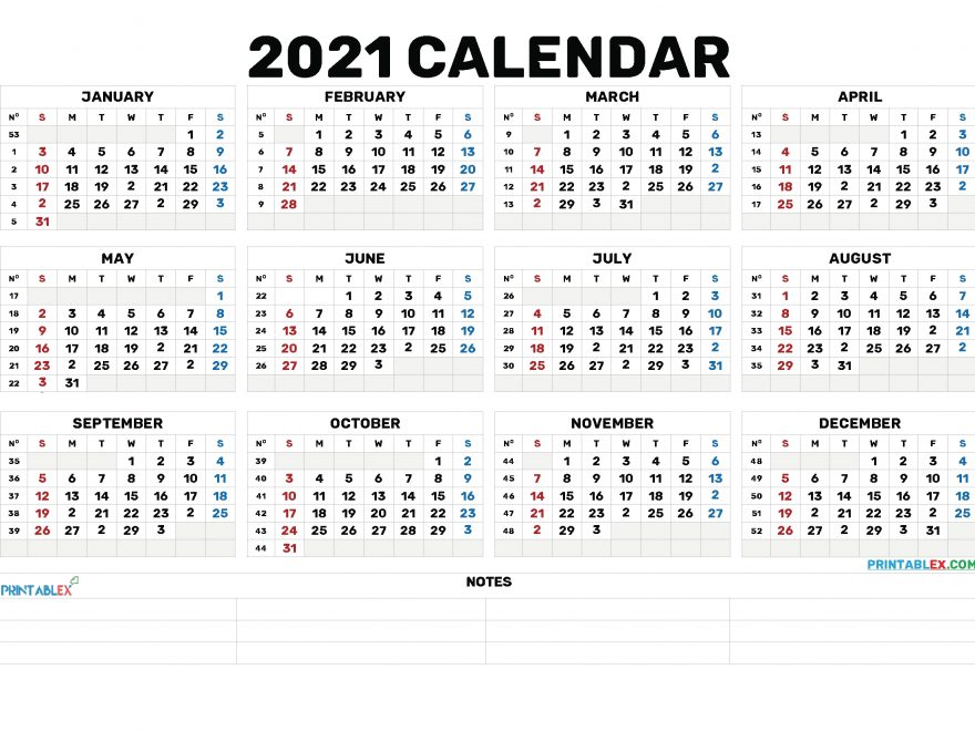 2021 Annual Calendar Printable - 21Ytw173 - Free Printable 2020 Monthly Calendar With Holidays