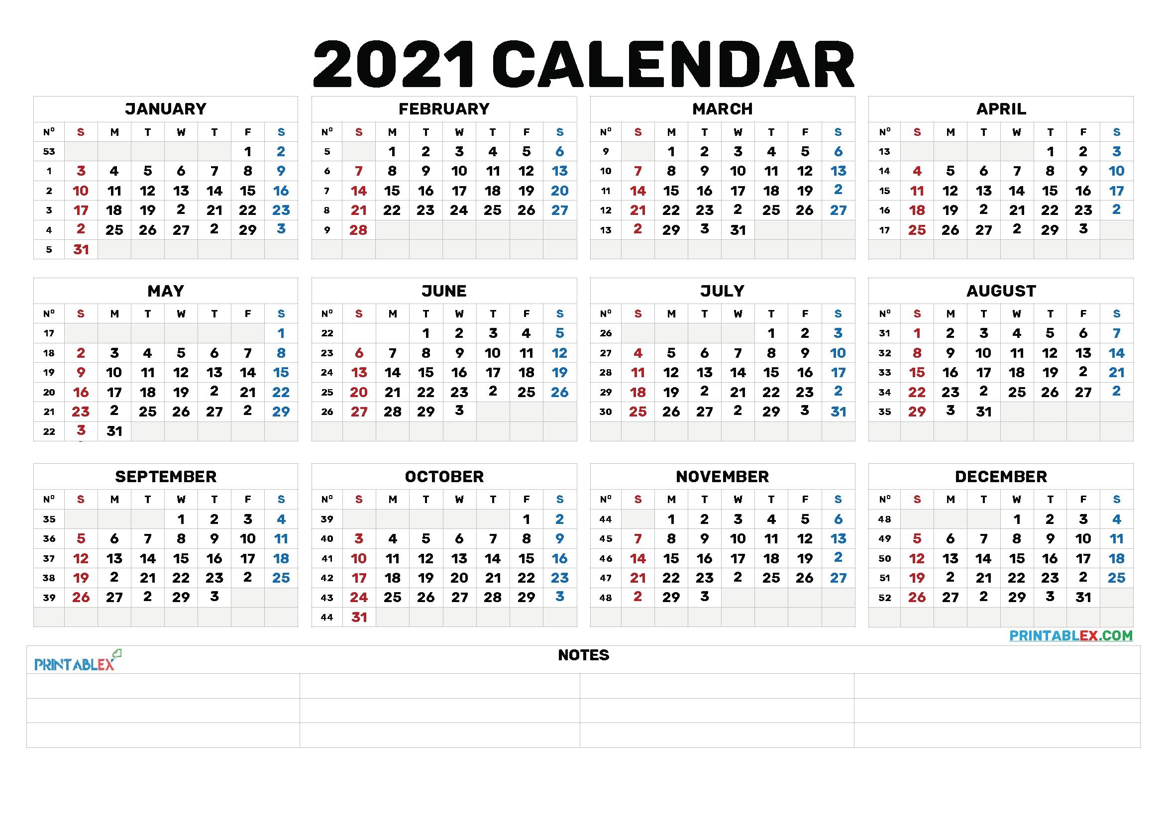 2021 Annual Calendar Printable - 21Ytw173 - Free Printable 2020 Monthly Calendar With Holidays