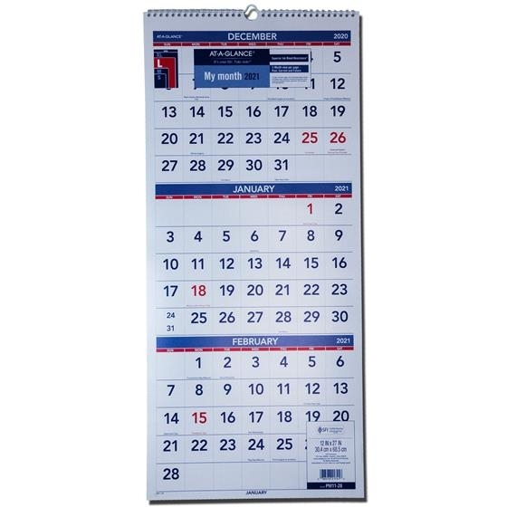 """2021 At-A-Glance Pm11-28 3-Month Wall Calendar, 12-1/4 X 27"""" 