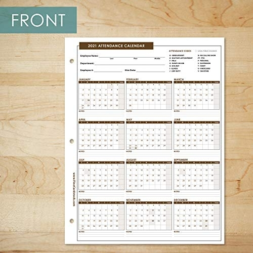 2021 Attendance Calendar Card Stock Paper - Great Employee Work Tracker | Printed On Durable And