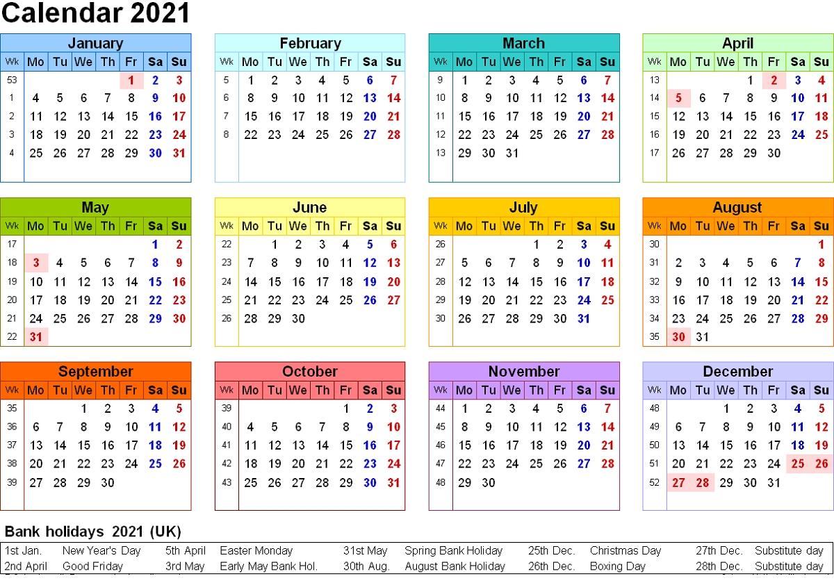 2021 Calendar One Page Printable | 2020Calendartemplates